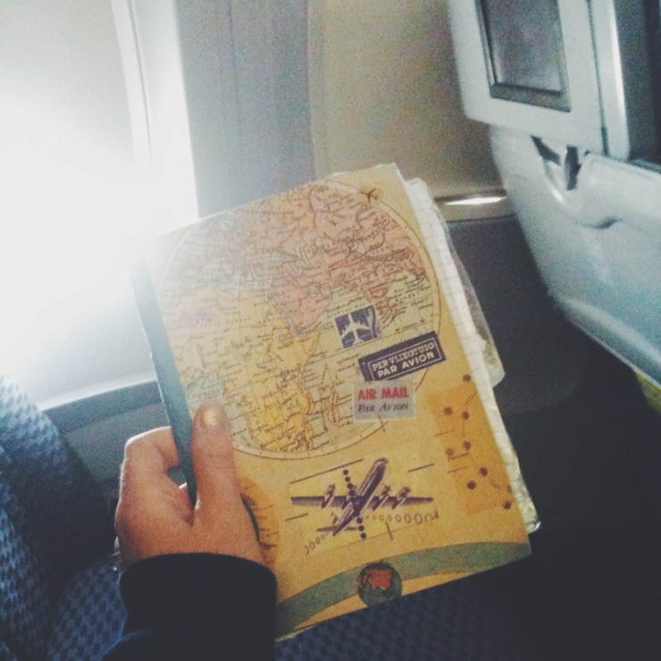 Travels of a travel journal - the place where I wrote this (in the airplane to San Francisco)